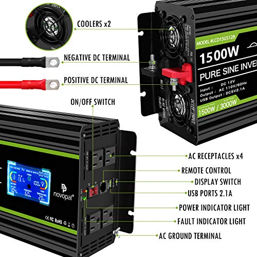 Novopal 1500 Watt 12V Power Inverter Four 110V AC Outlets with 1 USB Port-16.4 Feet Remote Control and LCD Display Dual Cooling Fans Pure Sine Wave Inverter Supply for Blenders, Vacuums,etc
