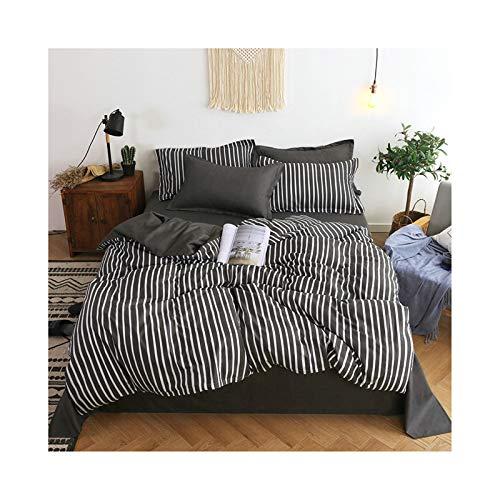 AmDxD Bettlaken, Bettbezug und Kissenbezügen aus Polyester Streifen Design 3teilig Spannbetttuch Bettwäsche-Sets Schwarz