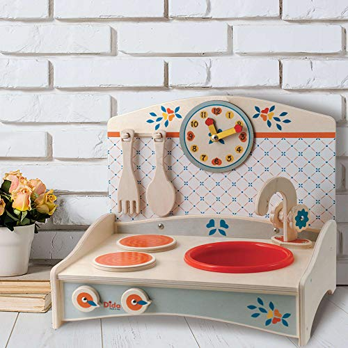 Dida - Mini-Holzspielküche In Gelb Oder Hellblau Mit 2 Herdplatten, Spüle Und Uhr. Ideal Für Das Kinderzimmer Oder In Den Ferien