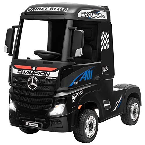Costzon Ride on Truck, 12V Licensed Mercedes Benz Actros with Trailer, Remote Control, 2 Motors, High/Low Speed, Lights, Music, FM/USB/MP3, Electric Battery Powered Car for 3-8 Years Old Kids (Black)
