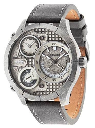 Police Bushmaster 14638XSQS/04 - Reloj de Pulsera analógico para Hombre (Mecanismo de Cuarzo, Esfera Plateada y Correa de Piel Gris)