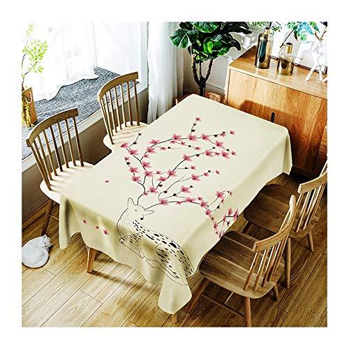 ZHAOXIANGXIANG Nappe Lavable Cartoon Digital Print Motif Fleurs Elk Décoration Maison Pique-Nique Dîner Table Cloth Imprimer,90Cm×130Cm
