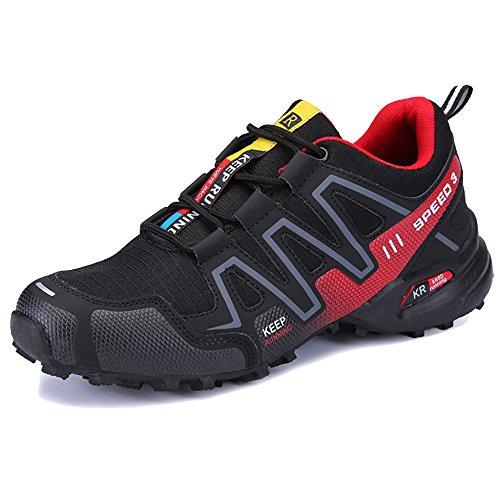MERRYHE Hommes Réfléchissant Nuit Chaussures De Course Marcher Sneaker Randonnée Trekking Chaussures en Plein Air Escalade Chaussure Grande Taille,Black-45