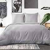 Bedsure Housse de Couette 220x240 cm Gris + 2 Taie d'oreiller 65x65 cm - Parure de...