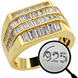 Solid 925 Sterling Silver - Iced Baguette Men's Silver Ring - 14k Yellow Gold Finish - Sizes 7-13 Heavy Pinky Or Statement Ring - Flooded Out Man Made Diamonds (12)