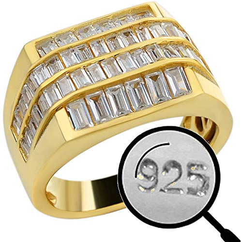 Solid 925 Sterling Silver - Iced Baguette Men's Silver Ring - 14k Yellow Gold Finish - Sizes 7-13 Heavy Pinky Or Statement Ring - Flooded Out Man Made Diamonds