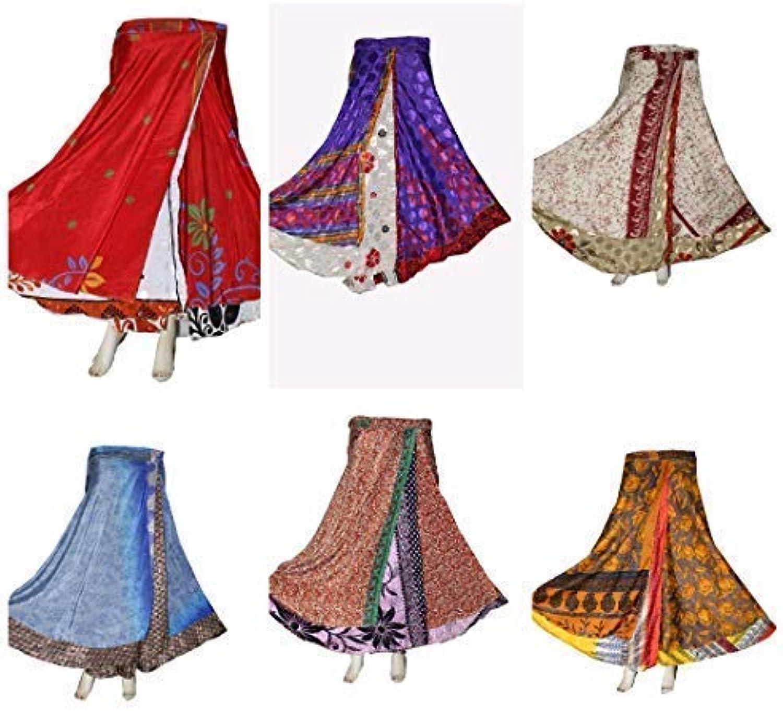 Rajwadafashion Layer Magic Wrap Around Skirt Dress  Silk Sari Wrap, Assorted color Print 5 Pack