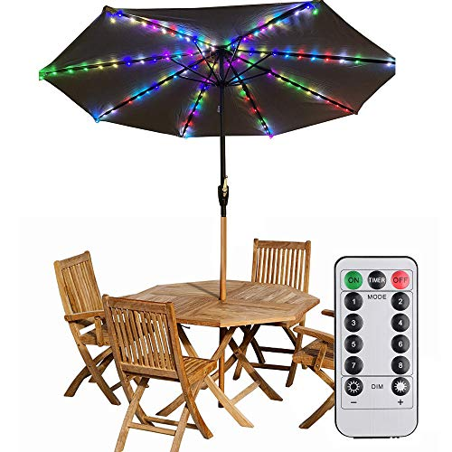 Patio LED Umbrella String Lights Parasol String Lights 104 LEDs 8 Lighting Mode with Umbrella Lights Battery Operated Waterproof Outdoor Lighting for Patio Umbrellas Outdoor Use Camping Tents(RGB)