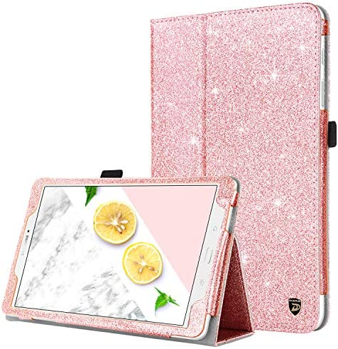 DUEDUE Samsung Galaxy Tab E 9.6 Case, Sparkly Glitter Slim Faux Leather Folio Stand Full Body Protective Cover for Galaxy Tab E Wi-Fi/ Tab E Nook 9.6 Inch Tablet SM-T560/T561/T565/T567V,Rose Gold