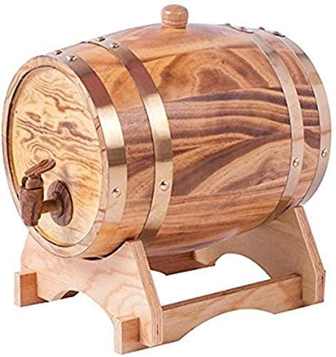 DXMRWJ Creatividad con Grifo Barril de Vino 3L Barril de Madera Almacenamiento Envejecimiento Licores de Vino Barriles de Vino Soporte de Vino para Cerveza Whisky Ron Oporto (Color: Predeterminado)