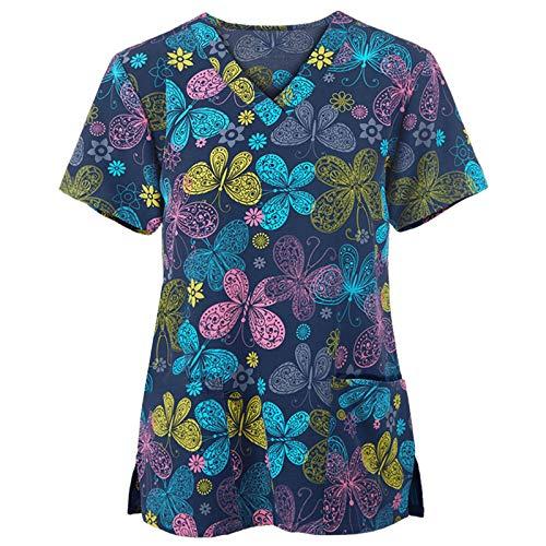 Xmiral Kurzarm Krankenschwester Uniform Bunt Bedrucktes T-Shirt V-Ausschnitt Workwear Beauty Salon Tops mit Zwei Taschen(d-Marine,XXL)