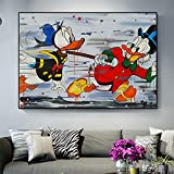 KWzEQ Affiche d'art Mural sur Toile Animal de Bande dessinée Nordique décoration de la Maison Salon Moderne,Peinture sans Cadre,60X90cm