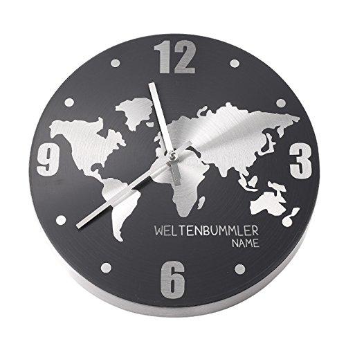 Herz & Heim® Weltenbummler Uhr mit Ihrem Wunschnamen graviert