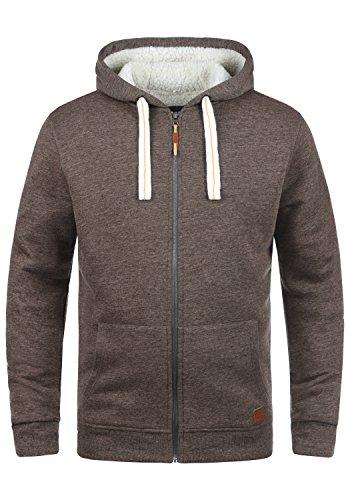 Blend Ted Herren Winter Sweatjacke Kapuzen-Jacke Zip-Hoodie Pullover mit Teddy-Futter, Größe:L, Farbe:Mocca Mix (70816)