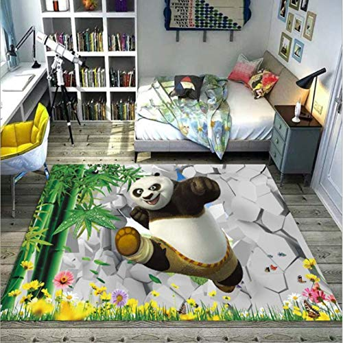 LSXA Alfombra Rectángulo Dibujos Animados Kung Fu Panda Habitación para Niños Dormitorio Cama �rea De Juegos para Bebés Sala De Estar Sofá Mesa De Centro Alfombra Impresa Decoración