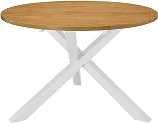 Festnight Table à Dîner Ronde | Table de Salle à Manger en Bois | Table de Cuisine | Table de Salon | 120 x 75 cm Blanc et...