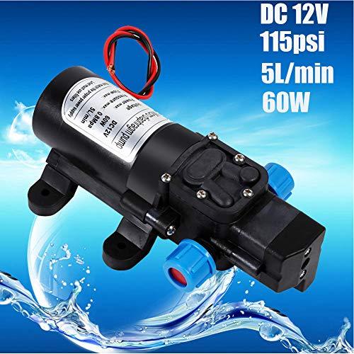 Selbstansaugende Wasserpumpe – 12 V 115 Psi Hochdruck-Membran, selbstansaugende Wasserpumpe, 5 l/min, 60 W, landwirtschaftliche Zwecke für Autowäsche Garten