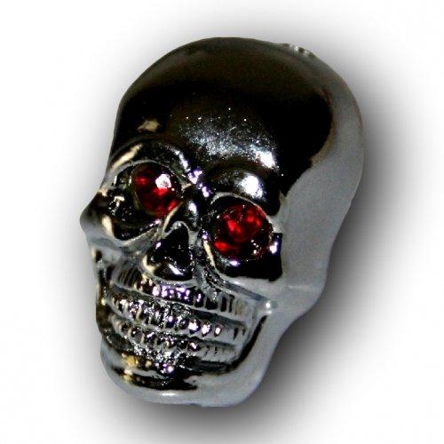 KUSTOM66 160023-2K66 Juego de 2 Tornillos de Calavera Plateados de 25 mm con Ojos Rojos