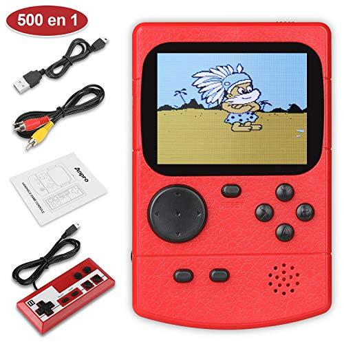 Anpro Consola de Juegos Portátil,Juegos Electrónicos Portátiles con 500 Juegos Clásicos, Modo de Jugadores Dobles, Soporte Connect TV,Batería Recargable de 800 mAh