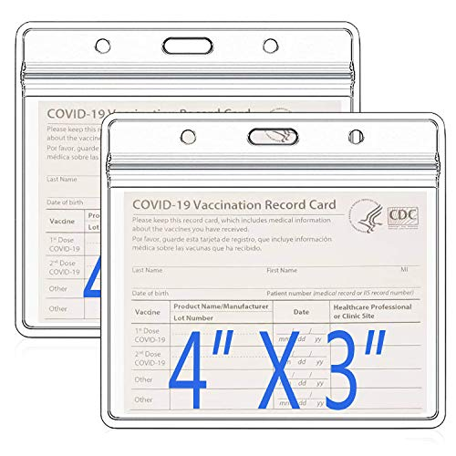 2 Pack - Clear Vaccine Card Protector 4 x 3 Inches,Waterproof Immunization Record Vaccine Horizontal I'D Card Name Tag Badge Card Holder,plastic card sleeves with Dual-Purpose Hanging Slot/Hole design