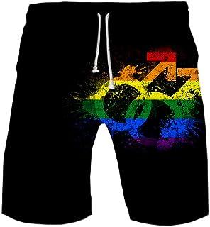URVIP Men Rainbow LGBT Pride Swim Trunks 3D Printed Surfing Beach Board Shorts