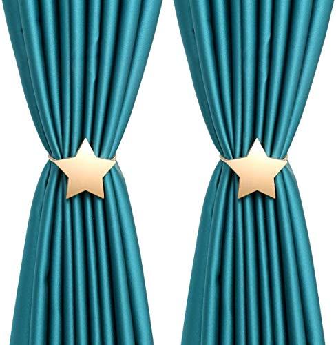 CCHKFEI Juego de 2 alzapaños magnéticos para cortina con diseño de estrellas, para decoración de ventanas de casa y oficina