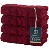 Qute Home 4-Piece Hand Towels Set, 100% Turkish Cotton Premium Quality Towels for Bathroom, Quick Dry Soft and Absorbent Turkish Towel Perfect for Daily Use, Set Includes 4 Hand Towels (Burgundy)