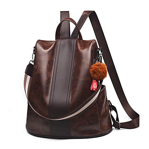Women Backpack Purse Anti Theft Waterproof Detachable Covertible Casual Travel Shoulder Bag (Coffee)