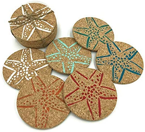 Colorful Beach Starfish Drink Cork Coaster Set 6