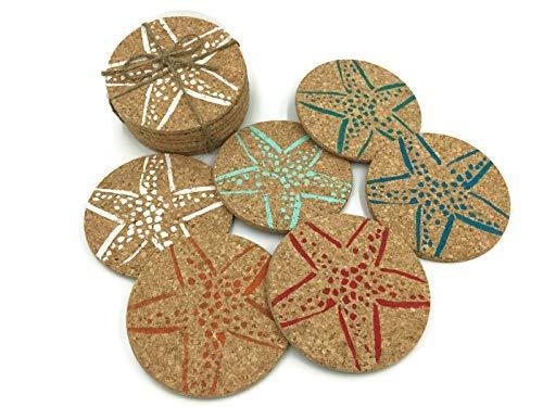 Colorful Beach Starfish Drink Cork Coaster Set, 6