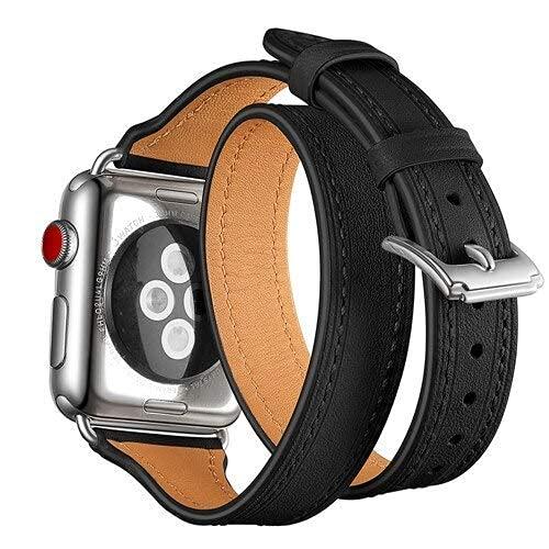 KTZAJO 2021 La última correa de reloj para Apple 42 mm 38 mm 3 2 1 iWatch Double Tour Correa de piel auténtica con lazo y hebilla de metal – rosa – 38 mm (color: negro, tamaño: 42 mm)