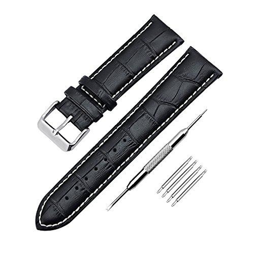 Cinturino dell'orologio in vera pelle impermeabile con barra a molla e strumenti di riparazione 18mm 20mm 22mm 24mm KZKR Sostituzione cinturino dell'orologio di ricambio B004 (22mm nero)