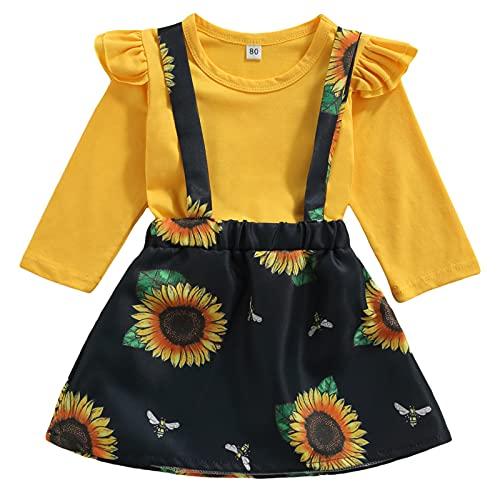 Cutoluca Toddler Baby Girls Clothes Daisy Print Long Sleeve Ruffle T Shirts Sunflower Suspender Skirt Kids Dress Sets (Yellow, 4-5T)