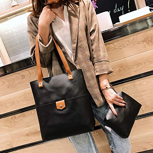 Zhouzl Maison & Jardin 2 en 1 Sac à Main en Cuir PU Messenger Bag Singshoulder Bag for Les Filles Maison & Jardin (Couleur : Black)