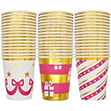 Christmas Disposable Paper Cups Paper 48 count 9-ounce and 3 unique design with Gold Foil outline Christmas Party drinkware Holiday Party Supplies