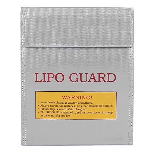 Incombustible A Prueba de explosiones Lipo Batería Guardia Seguridad Bolsa para Cargar Y Almacenamiento (180x230mm, Plateado)