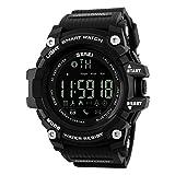 Bounabay Men's Multifunctional Digital Sport Watch with Bluetooth Pedometer, 5ATM Waterproof,Black