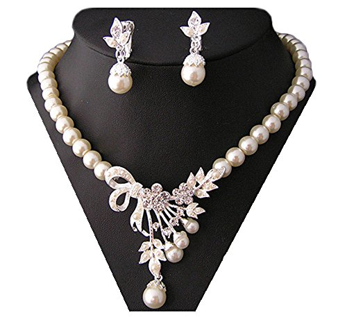Miya Mega Luxus Glamour glitzs perla collana e orecchini con super bellissimi fiori, sposa gioielli matrimonio sera eventi party Jugend Weihe, Perle Cristallo Gioielli Set