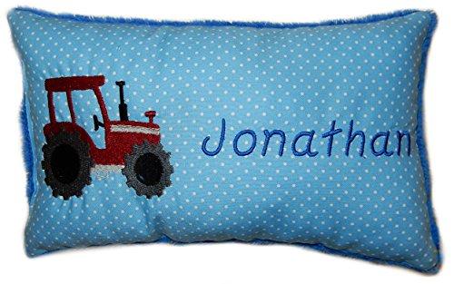 Blaues Schmusekissen * Kuschelkissen * roter Traktor * mit Namen bestickt * in zwei Größen