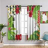 Cortinas aisladas con hojas de 160 cm de largo, diseño de hojas de hibisco plumeria crepe jengibre anthurium para sala de estar o dormitorio, color rosa, blanco, rojo y verde