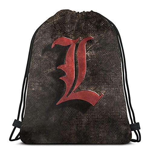 Mochila portátil con cordón de gran capacidad, lavable, cómoda bolsa de saco, nota de la muerte yagami, ligera, bolsas de hombro para estudiantes, compras, camping, nota de la muerte L