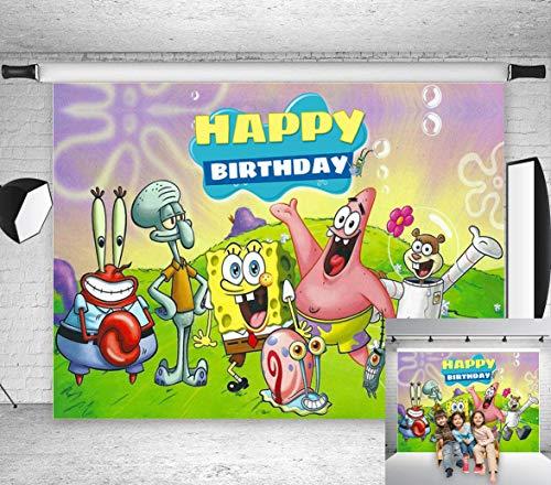 TJ Cartoon Animation Spongebob Patrick Star Photography Backdrops Happy Birthday Theme Party Decor Background Children Photo Booth Studio Props 7X5FT Vinyl