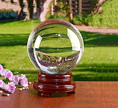 """MerryNine Photograph Decoation Crystal Meditation Ball with A Redwood Resin Stand, K9 Crystal Suncatchers Ball, Home Decoation Ornaments, Photography Accessory?80mm/3.15"""" Dia,Clear"""