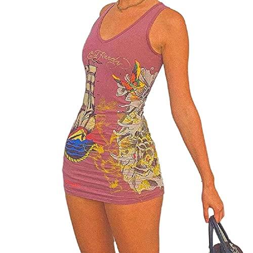 Vestido corto ajustado para mujer, cuello redondo, letra de mariposa, diseño de mariposa, ajuste perfecto, casual, Y2k Streetwear, Rosado oscuro, Medium