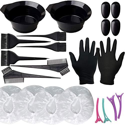 vap26 22 Stks Haar Kleurstof Kit, Haarverf Borstel en Bowl Set, Oordopjes, Handschoenen Haar Tint Tool voor DIY Salon Haar Kleurplaten Bleken Gereedschap
