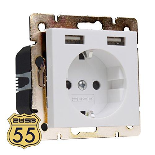 2USB Schuko Steckdose mit USB Modell 55 Reinweiß glänzend