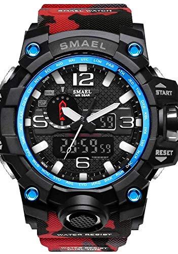SMAEL Hombre Reloj Deportivo Reloj Digital Reloj de Caza Silicona 50 m Resistente al Agua Cronómetro Noctilucente Analógico-Digital (Rojo y Azul)