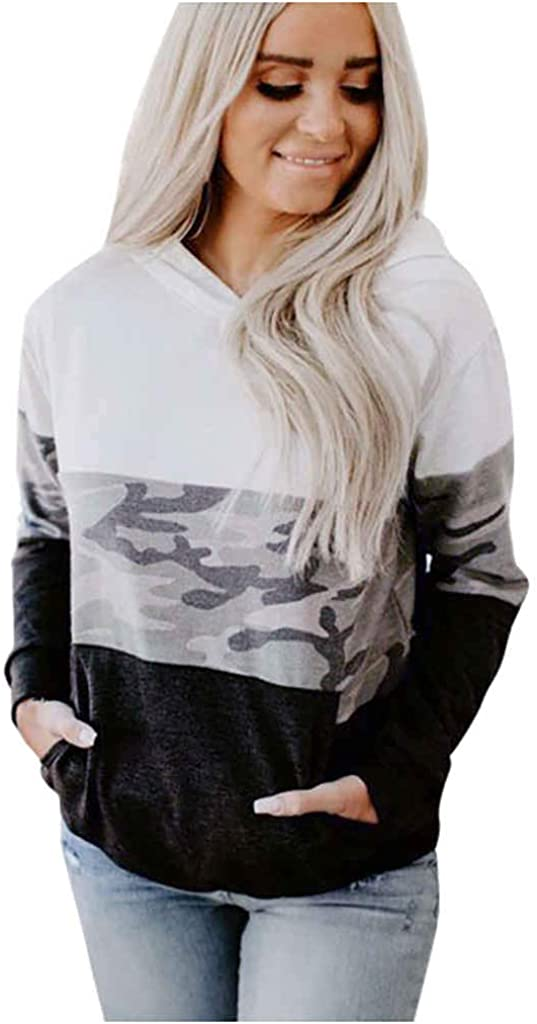 Sweatshirt for Women ,Women's Hooded Camouflage Splicing with Pocket Long Sleeve Casual Hoodies Pullover Tops Shirt