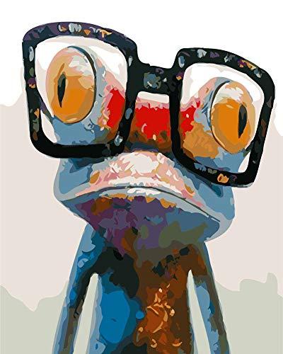 WOWDECOR DIY Malen nach Zahlen für Erwachsene Kinder Mädchen, Frosch Gläser Bunt Karikatur 40x50cm Vorgedruckt Leinwand-Ölgemälde (mit Rahmen)