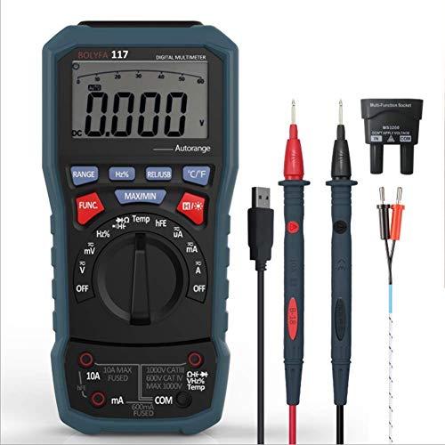 Baibao Multímetro True RMS - Medidor de corriente y voltaje (medición de resistencia, comprobador eléctrico)